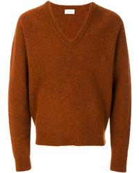 rotbrauner Pullover mit einem V-Ausschnitt von Lemaire