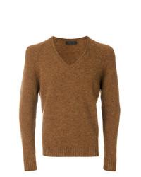 rotbrauner Pullover mit einem V-Ausschnitt von Prada