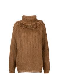 rotbrauner Strick Oversize Pullover von Miu Miu