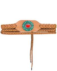 rotbrauner verzierter Leder Taillengürtel von Etro