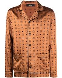 rotbraunes bedrucktes Langarmhemd von MCM