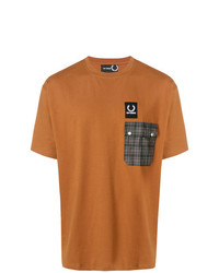 rotbraunes bedrucktes T-Shirt mit einem Rundhalsausschnitt von Raf Simons X Fred Perry