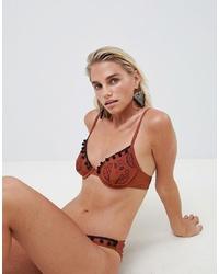 rotbraunes Bikinioberteil mit Paisley-Muster von ASOS DESIGN