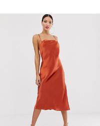 rotbraunes Camisole-Kleid aus Satin von Asos Tall