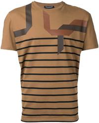 rotbraunes horizontal gestreiftes T-Shirt mit einem Rundhalsausschnitt von Neil Barrett