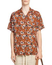rotbraunes Kurzarmhemd mit Blumenmuster