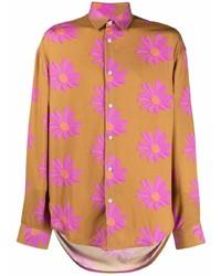 rotbraunes Langarmhemd mit Blumenmuster von Jacquemus