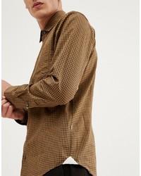 rotbraunes Langarmhemd mit Vichy-Muster