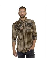 rotbraunes Langarmhemd mit Vichy-Muster von Camp David