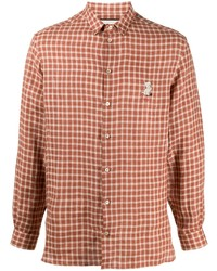 rotbraunes Langarmhemd mit Vichy-Muster von Gucci