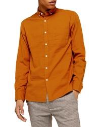 rotbraunes Leinen Langarmhemd