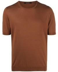 rotbraunes Strick Seide T-Shirt mit einem Rundhalsausschnitt von Tagliatore