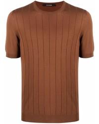 rotbraunes Strick T-Shirt mit einem Rundhalsausschnitt von Tagliatore