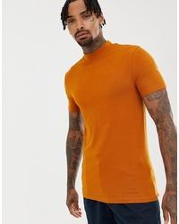rotbraunes T-Shirt mit einem Rundhalsausschnitt von ASOS DESIGN