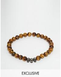 rotbraunes Perlen Armband von Simon Carter