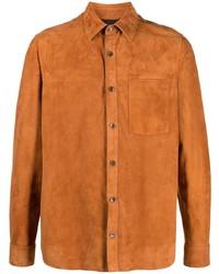 rotbraunes Wildlederlangarmhemd von Ajmone