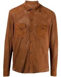 rotbraunes Wildlederlangarmhemd von Tagliatore