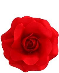 rote Anstecknadel mit Blumenmuster