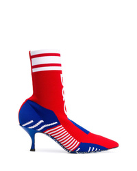 rote bedruckte elastische Stiefeletten von Dolce & Gabbana
