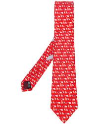 rote bedruckte Krawatte von Salvatore Ferragamo