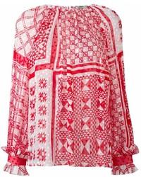 rote bedruckte Langarmbluse von Fendi