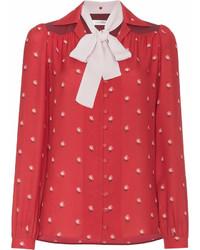 rote bedruckte Langarmbluse von Valentino