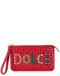 rote bedruckte Leder Clutch von Dolce & Gabbana