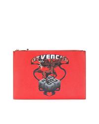 rote bedruckte Leder Clutch von Givenchy