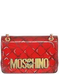 Rote bedruckte Leder Umhängetasche von Moschino