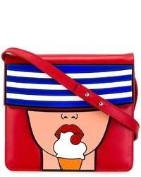 Rote bedruckte Leder Umhängetasche von Yazbukey