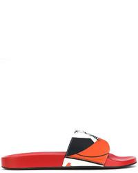 rote bedruckte Sandalen von Versace