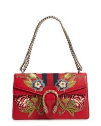 rote bedruckte Satchel-Tasche aus Leder