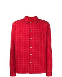 rote bedruckte Shirtjacke von AMI Alexandre Mattiussi