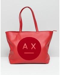 rote bedruckte Shopper Tasche aus Leder von Armani Exchange