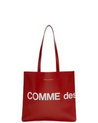rote bedruckte Shopper Tasche aus Leder von Comme des Garcons Wallets