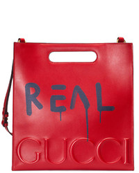 rote bedruckte Shopper Tasche aus Leder von Gucci