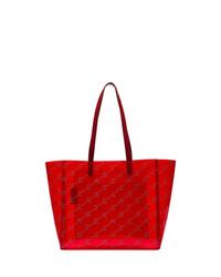 rote bedruckte Shopper Tasche aus Leder von Stella McCartney