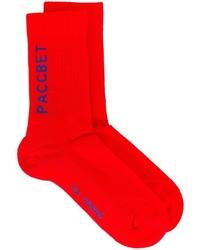 rote bedruckte Socken von Gosha Rubchinskiy
