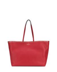 rote beschlagene Shopper Tasche aus Leder von Valentino