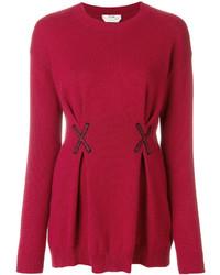 rote bestickte Bluse von Fendi