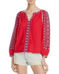 rote bestickte Folklore Bluse