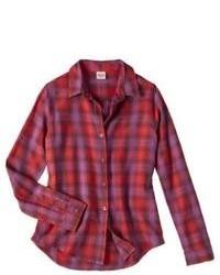 rote Bluse mit Knöpfen mit Vichy-Muster