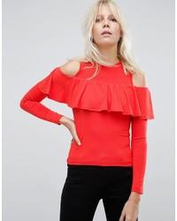 rote Bluse mit Rüschen von Asos