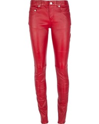 rote enge Hose aus Leder von Saint Laurent