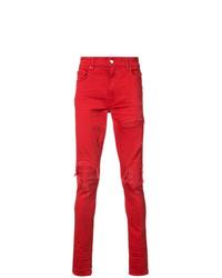 rote enge Jeans mit Destroyed-Effekten von Amiri