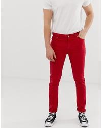 rote enge Jeans von ASOS DESIGN