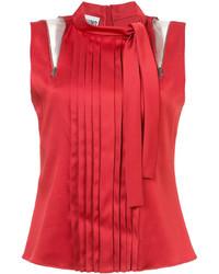 rote Bluse mit Falten von Moschino