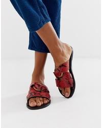 rote flache Sandalen aus Leder mit Schlangenmuster von ASOS DESIGN