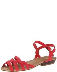 rote flache Sandalen aus Leder