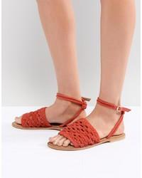 rote flache Sandalen aus Leder von ASOS DESIGN